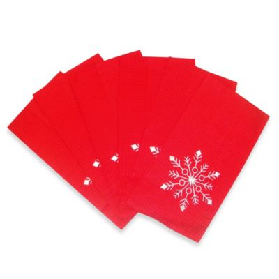 Winter Snowflakes Kitchen Towel in Red (Set of 6)