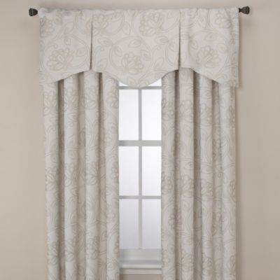 Jacobean Rod Pocket/Back Tab 84-Inch Window Curtain Panel in Ivory