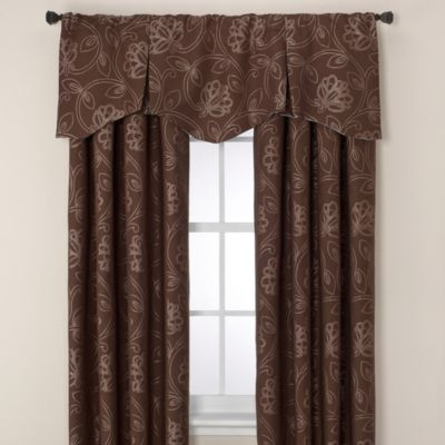 Jacobean Rod Pocket/Back Tab 63-Inch Window Curtain Panel in Brick