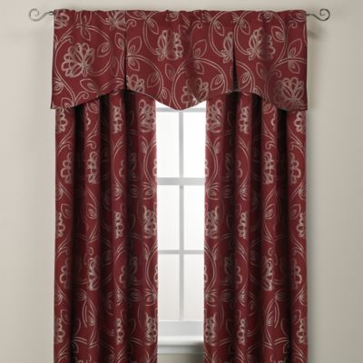 Jacobean Rod Pocket/Back Tab 84-Inch Window Curtain Panel in Brick