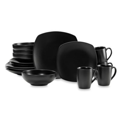 Paradiso Black 16-Piece Square Dinnerware Set