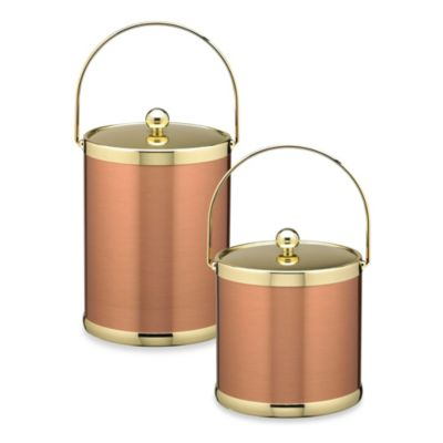 Kraftware™ Americano Copper & Brass Ice Buckets with Metal Bale Handle