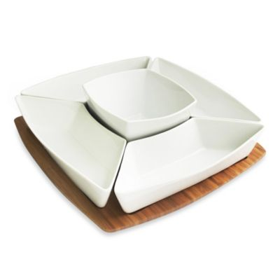 B. Smith Bamboo & Ceramic 6-Piece Snack Set