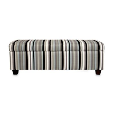 angelo:HOME Kent Storage Bench in Mid Century Black Stripe