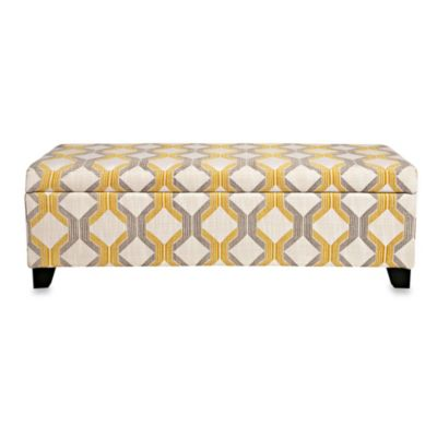 angelo:HOME Kent Storage Bench in Modern Deco Yellow/Taupe Tilework