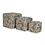 angelo:HOME Carlyle 3-Piece Nesting Ottoman Cubes in Feathered French Blue Paisley