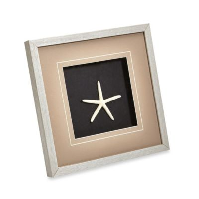 White Finger Starfish Coastal Shadowbox Wall Art