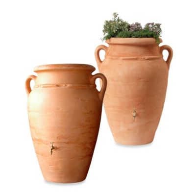 Roman 95-Gallon Rain Barrel in Terracotta with Planter