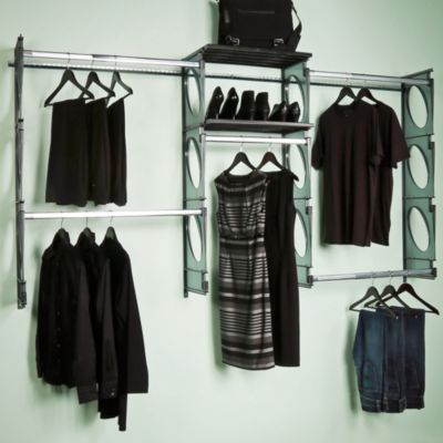 KiO 8-Foot Closet and Shelving Kit in Black