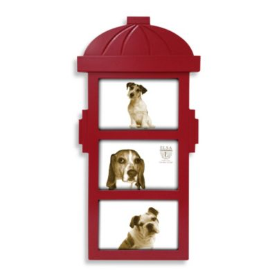 Three-Photo Water Hydrant Sentiment Frame in Red