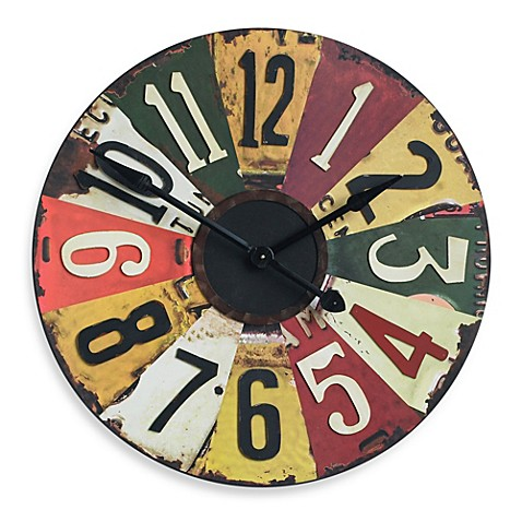 Uttermost Vintage License Plates 28 87 Inch Wall Clock