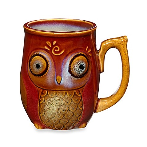 Gibson Home Nature's Owl 12-Ounce Mug in Red - BedBathandBeyond.com