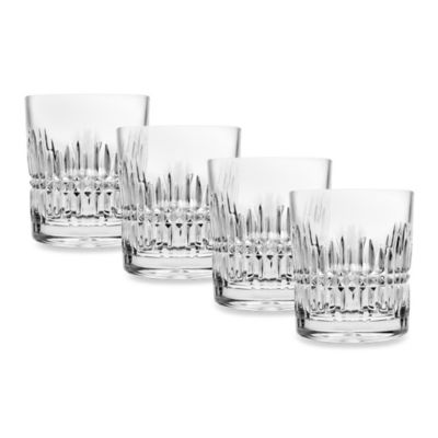 Godinger Top Shelf Hand Cut Crystal Facet Double-Old Fashioned (Set of 4)
