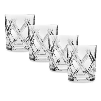 Godinger Dublin Top Shelf Hand Cut Crystal Bevel Double-Old Fashioned (Set of 4)