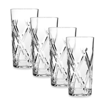 Top Shelf Hand Cut Crystal Bevel Highball (Set of 4)