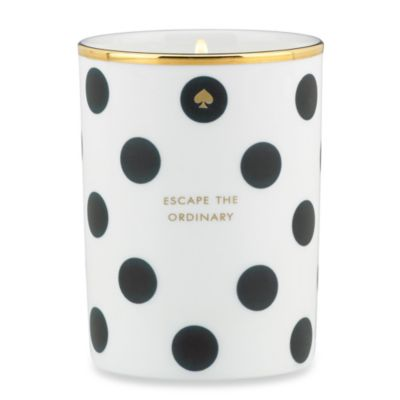 "Kate Spade New York ""Escape the Ordinary"" White Willow Candle in Black Dot"
