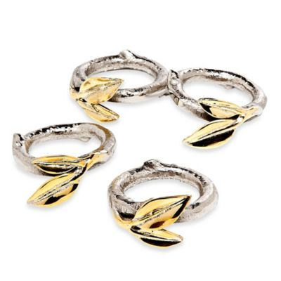 Godinger Two-Tone Leaf Napkin Rings (Set of 4)