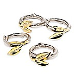 Godinger 2-Tone Leaf Napkin Rings (Set of 4)