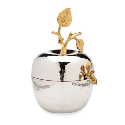 Godinger Leaf Design Apple Jam Jar with Spoon