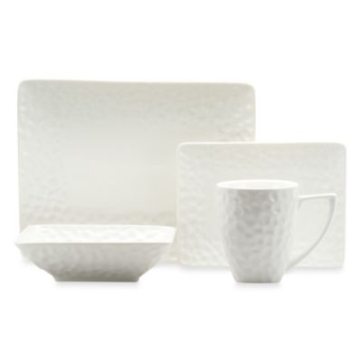 Red Vanilla Marble Rectangular 18-Piece Dinner Set