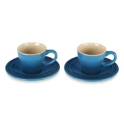 Le Creuset® Stoneware Espresso Cups and Saucers in Marseille (Set of 2)