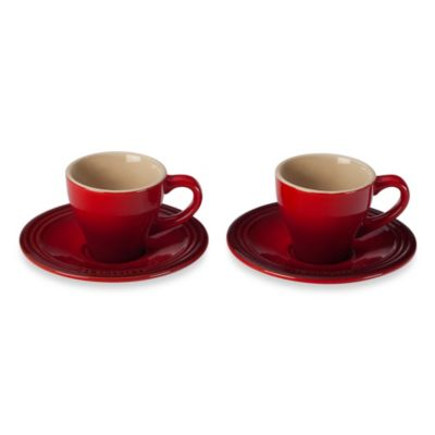 Le Creuset® Stoneware Espresso Cups and Saucers in Cherry (Set of 2)