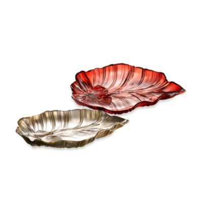 Fifth Avenue Crystal Venezia Leaf Platter in Gold