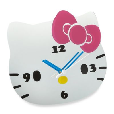 Hello Kitty Glass Mirror Wall Clock