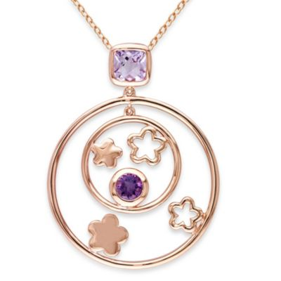 Pink Rhodium Plated Sterling Silver Rose de France and Amethyst-Africa Celestial Stars Pendant