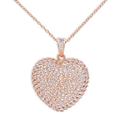 Sonatina Rose Toned Sterling Silver White Topaz Pave Heart Necklace