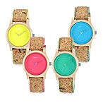 Sprout™ Women's Bright Color Dial and Cork Strap Watch