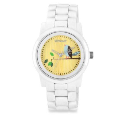 Sprout™ Women's White Resin and Bamboo Bird Icon Watch