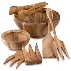 Ironwood Gourmet® Wood Large Salad Bowl and Accessories