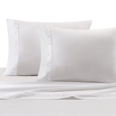 Natori Ming Fretwork Queen Flat Sheet in White/Champagne