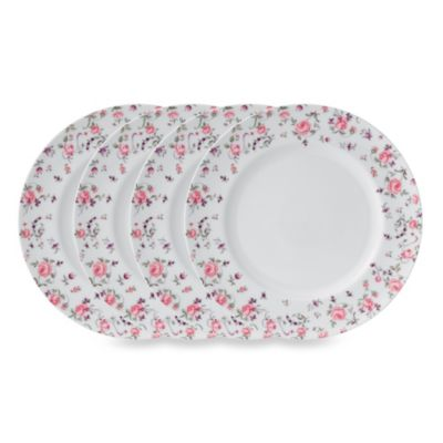 Royal Albert Rose Confetti Formal Vintage 10.6-Inch Dinner Plates (Set of 4)