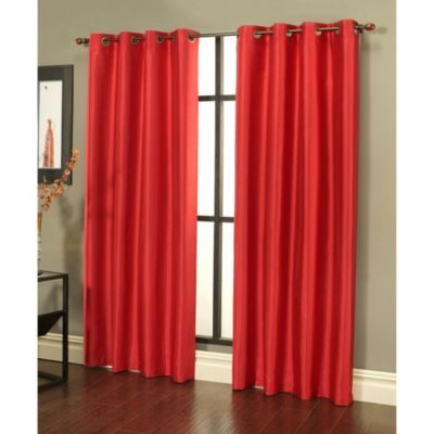 Sherry Kline Faux Silk Grommet Top 84-Inch Window Curtain Panels in Taupe (Set of 2)