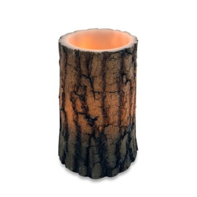 Wax Lodge Bark Carved Flameless LED Candle in Brown