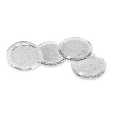 Oleg Cassini Crystal Diamond 3.5-Inch Coasters (Set of 4)