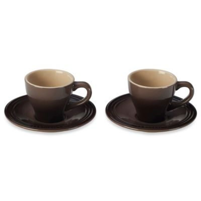 Le Creuset® Stoneware Espresso Cups and Saucers in Truffle (Set of 2)