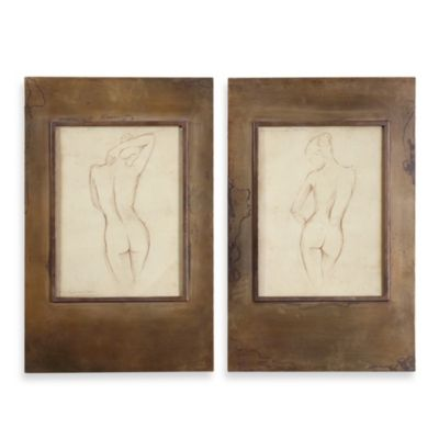 "Uttermost ""Bronze Figures"" Framed Art (Set of 2)"