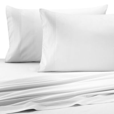 Barbara Barry® Perfect Pleat Queen Fitted Sheet in White