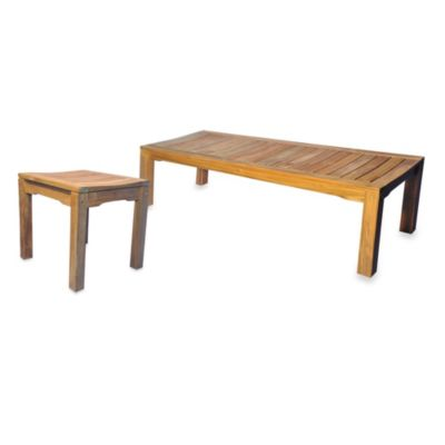 Teak Backless Bench with Curved Seat