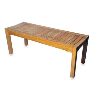 Teak 19.5-Inch Backless Bench with Curved Seat
