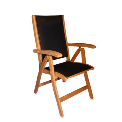 Teak Recliner Chair with Black Sling Fabric