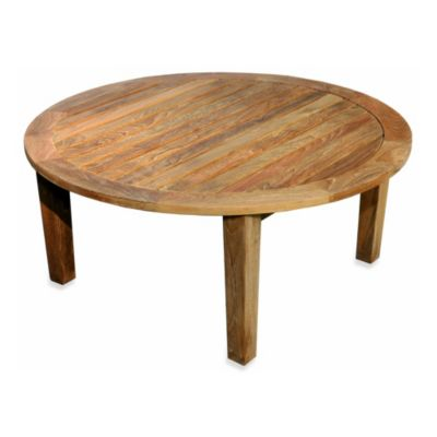 Solid Teak Round Coffee Table with Tapered Legs