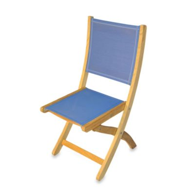 Teak Providence Folding Dining Chair in Blue