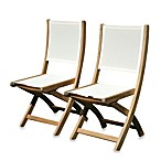 Teak Providence Folding Dining Chair without Arms in Cream
