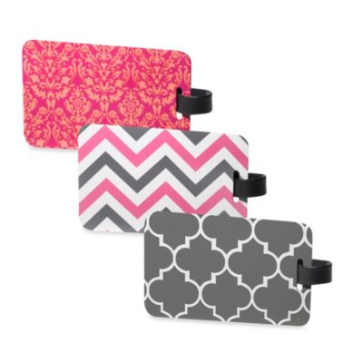 Luggage Tag 2-Pack in Pink/Grey