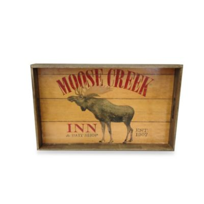 Moose Creek Lodge Sign Small Wooden Tray