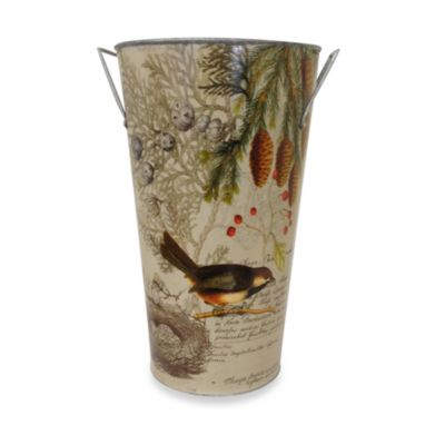 Bird Vintage Lodge Tin Vase- Medium